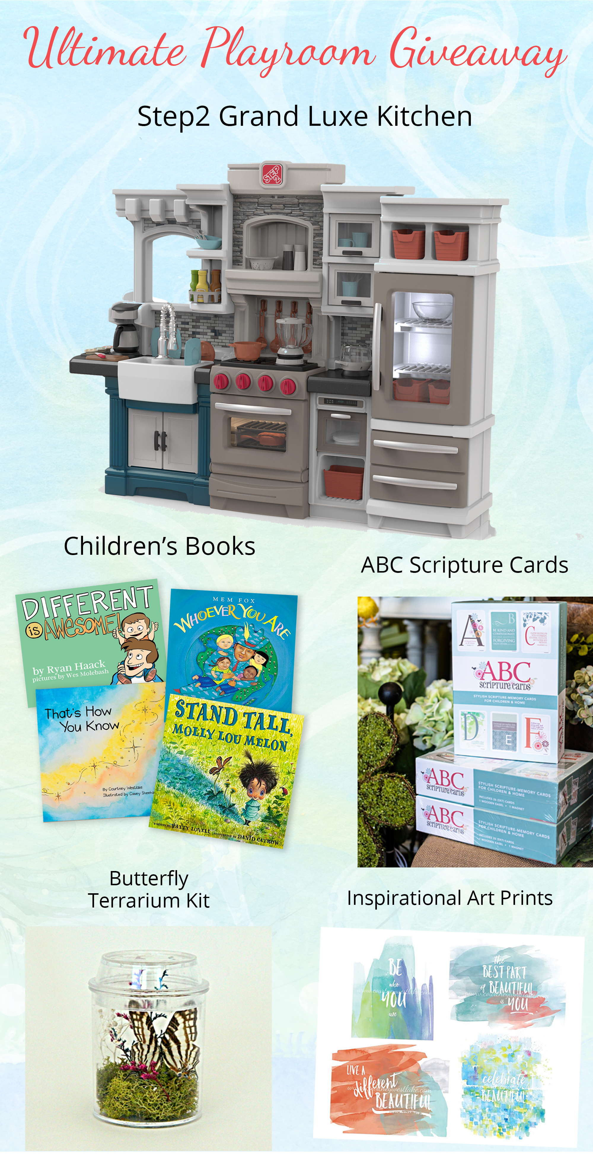 Amazing giveaway! Step 2 Play kitchen, books, and more - Ultimate Playroom Giveaway. Ends 7-22-2016