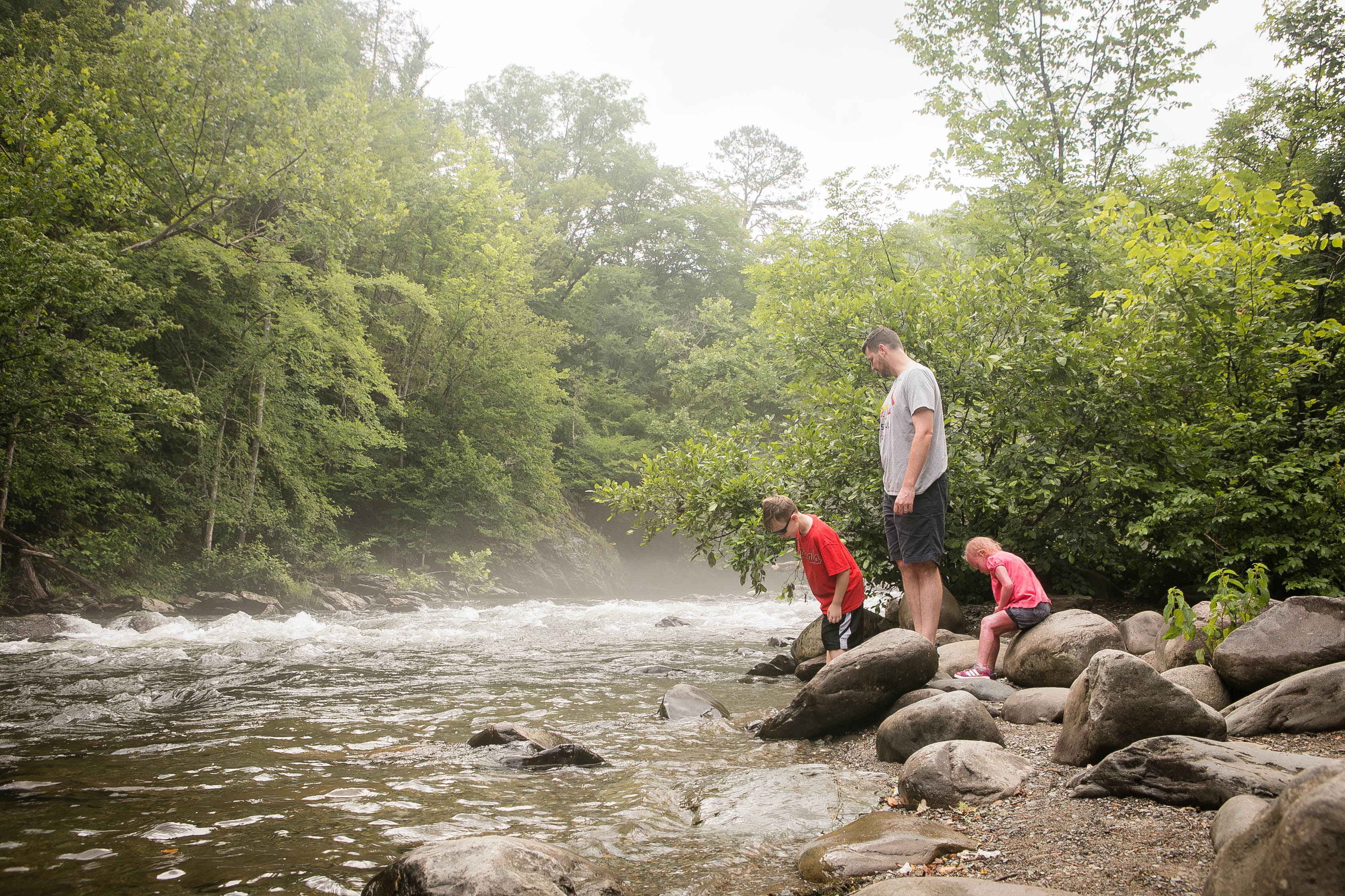 Playing in creeks - a great thing to do with kids while on vacation in the Smoky Mountains